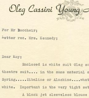 Jacqueline Kennedy to Oleg Cassini Inc.