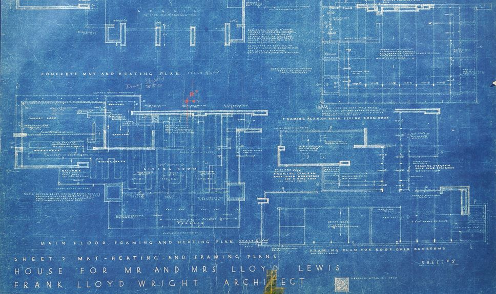 Frank Lloyd Wright - Original Blueprints & Signed Documents